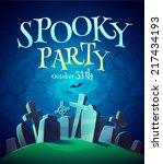 spooky graveyard. halloween... | Shutterstock .eps vector #217434193