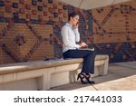 woman doing business in a... | Shutterstock . vector #217441033