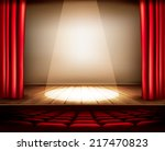 a theater stage with a red... | Shutterstock .eps vector #217470823
