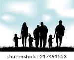 family silhouettes | Shutterstock .eps vector #217491553