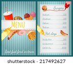 fast food restaurant menu with... | Shutterstock .eps vector #217492627