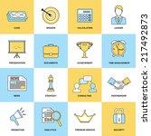 marketing flat line icons set... | Shutterstock .eps vector #217492873