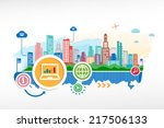 laptop sign icon and cityscape... | Shutterstock .eps vector #217506133
