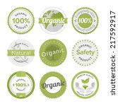 flat label collection of 100 ... | Shutterstock .eps vector #217592917