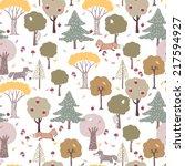 seamless forest pattern | Shutterstock .eps vector #217594927