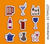 food icons drink. color vector. | Shutterstock .eps vector #217595227