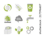 flat icons set of waste... | Shutterstock .eps vector #217596607