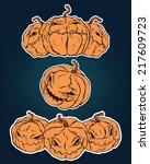 halloween stickers set | Shutterstock .eps vector #217609723