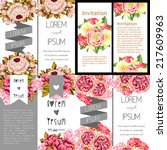 set of invitations with floral... | Shutterstock .eps vector #217609963