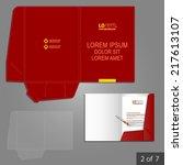 red classic folder template... | Shutterstock .eps vector #217613107