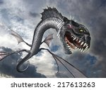 a snake dragon swoops down from ... | Shutterstock . vector #217613263