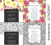 set of invitations with floral... | Shutterstock . vector #217622947