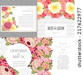 set of invitations with floral... | Shutterstock .eps vector #217622977