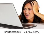 a young woman has trouble with... | Shutterstock . vector #217624297