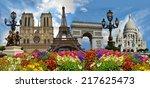 travel background. symbols of... | Shutterstock . vector #217625473