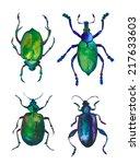 set of green watercolor beetles | Shutterstock . vector #217633603