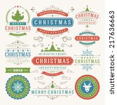 christmas decoration vector... | Shutterstock .eps vector #217636663