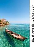 boat at rosario island colombia | Shutterstock . vector #217687387