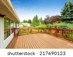 one story house with wooden... | Shutterstock . vector #217690123