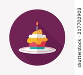 birthday cake flat icon with... | Shutterstock .eps vector #217702903