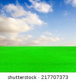 artificial turf on the sky...   Shutterstock . vector #217707373