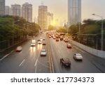 Car Traffic Against The Sunset...
