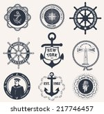 set of vintage nautical labels  ... | Shutterstock .eps vector #217746457