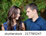young beautiful couple in love... | Shutterstock . vector #217785247