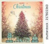 christmas poster   vintage...   Shutterstock .eps vector #217822363