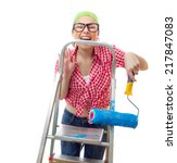 Small photo of Expressive woman holding roller afore ladder over white background