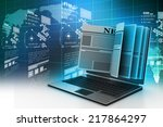 laptop screen showing latest... | Shutterstock . vector #217864297