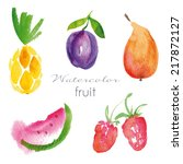 watercolor fruit set. eps 10.... | Shutterstock .eps vector #217872127