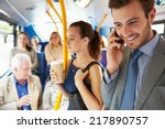 passengers standing on busy... | Shutterstock . vector #217890757