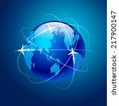 planet airplane flight travel... | Shutterstock .eps vector #217900147
