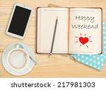 happy weekend on notebook with...   Shutterstock . vector #217981303