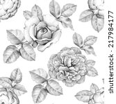 seamless pattern with pencil... | Shutterstock . vector #217984177