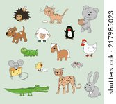 set of various cartoon animals... | Shutterstock . vector #217985023