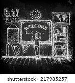 welcome back to school. hand... | Shutterstock .eps vector #217985257