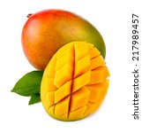 fresh mango fruit with cut and... | Shutterstock . vector #217989457