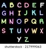 colorful neon alphabet | Shutterstock . vector #217999063