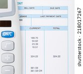 calculator next to a bill  ... | Shutterstock . vector #218017267