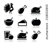thanksgiving day food icons set ...   Shutterstock .eps vector #218032843
