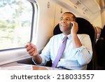 businessman commuting to work... | Shutterstock . vector #218033557
