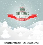 merry christmas greeting card... | Shutterstock .eps vector #218036293