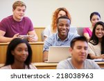 students using laptops and... | Shutterstock . vector #218038963