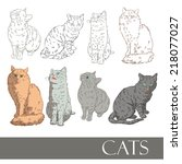 domestic cats | Shutterstock .eps vector #218077027