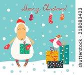 vintage christmas illustration... | Shutterstock .eps vector #218083423