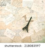 antique french postcards and... | Shutterstock . vector #218083597