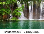 small waterfall in the plitvice ... | Shutterstock . vector #218093803