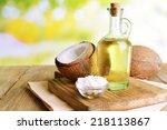 coconut oil on table on light... | Shutterstock . vector #218113867